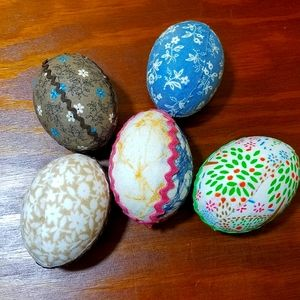 Vintage Decorated Eggshells, set of 5
